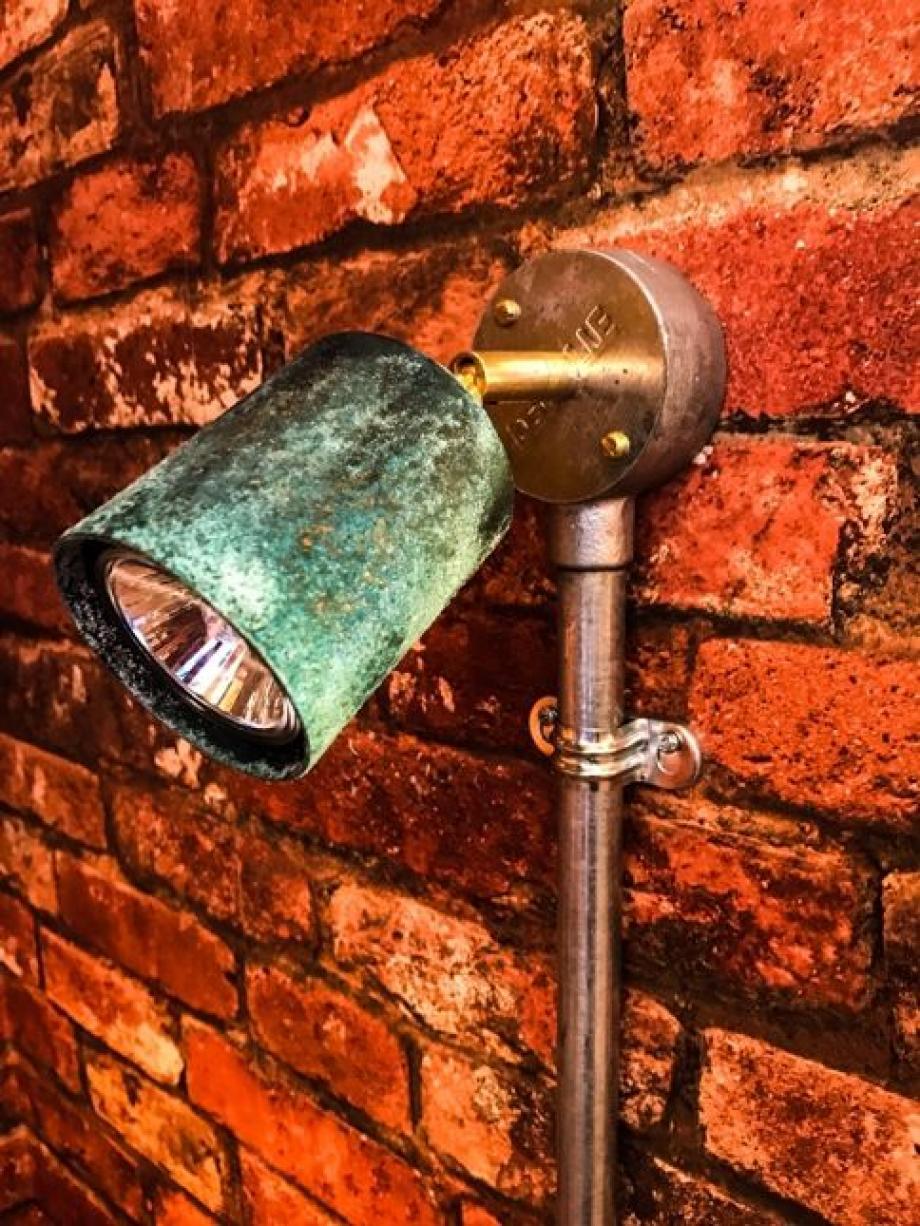Conduit Box Light Fitting Verdigris Copper Adjustable